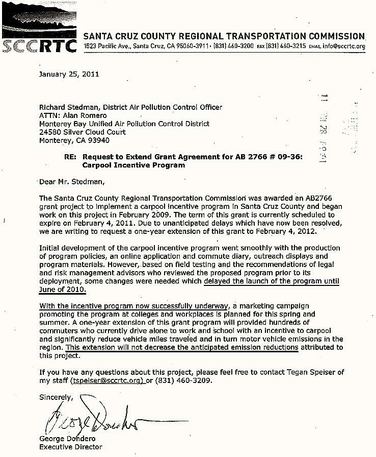 RTC Executive Director's one-year extension request to Air District in January 2011